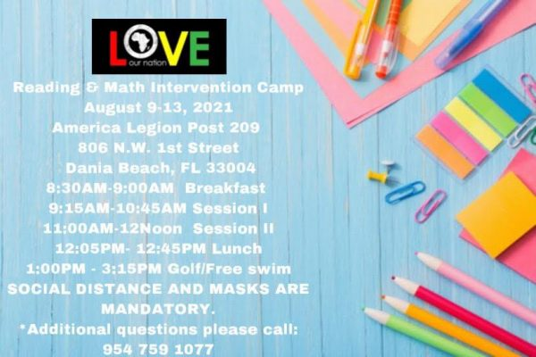 2021 Love Our Nation Summer Reading & Math Intervention Camp